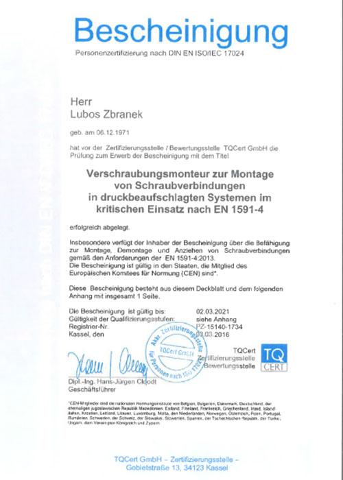 Klinger_Bescheinigung_Verschraubungsmonteur_Zbranek_2016-1