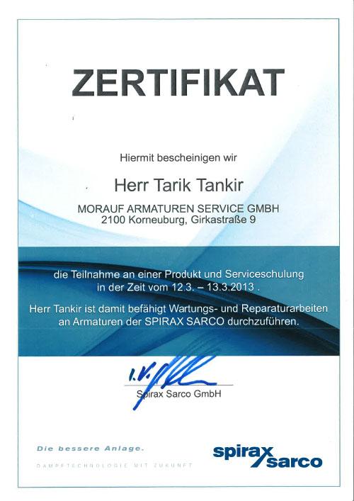 Spirax Sarco_Zertifikat_Tankir_2013