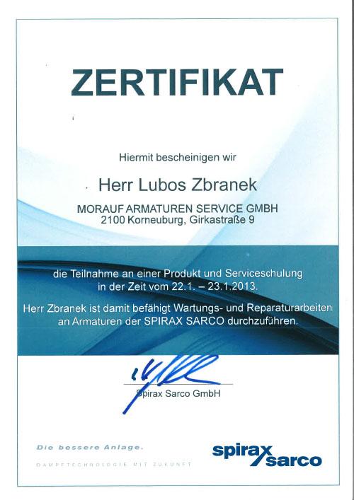 Spirax Sarco_Zertifikat_Zbranek_2013