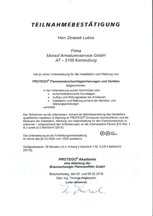 Teilnahmebestätigung_PROTEGO SCHULUNGSKURS W2 2018_Zbranek